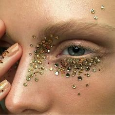 Gold rhinestones and glitter