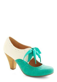 Book Signing Soiree Heel in Teal. Your book signing becomes an even more sought-after social event since youre mingling with readers in these stacked heels by Chelsea Crew! #green #modcloth
