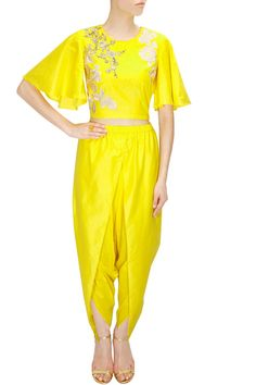 Yellow dabka embroidered crop top with draped dhoti pants available only at Pernia's Pop-Up Shop.