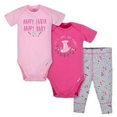6c179aebe862 3-Piece Baby Girls Happy Earth Bodysuits   Pant Set