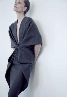 Iekeliene Stange in Haider Ackermann for Sculptural Fashion an exhibition on Madame Gres at MoMu