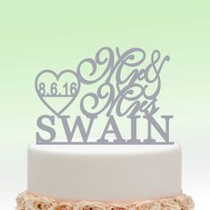 Mirror Silver Wedding Cake Toppers Mr And Mrs Heart Monogrammed Personalized Custom