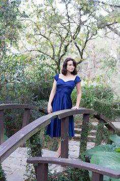 #sweetheartneckline #bluedress #vintageinspired