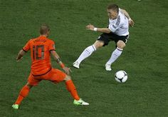 Germany took a big step towards the Euro 2012 quarter-finals on Wednesday when two classy first-half strikes from Mario Gomez secured a 2-1 victory over the Netherlands who are in serious danger of elimination.