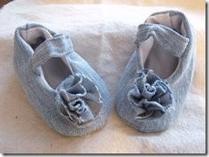 Upcycled denim baby shoes