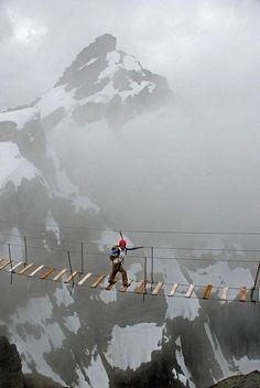 Sky walking on Mount Nimbus in Canada