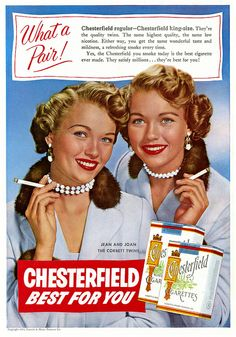 Old ad of two famous women promoting a brand of cigarette. My Dad smoked these till he passed away. Old Advertisements, Advertising, Vintage Cigarette Ads, Tobacco Industry, Pin Up, Pub Vintage, Women Smoking, Le Smoking, Retro Ads
