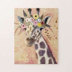 Klimt Giraffe | Adorned In Flowers Jigsaw Puzzle - tap, personalize, buy right now! #JigsawPuzzle  #animal #safari #zoo #giraffe #whimsical Zoo Giraffe, Animal Skulls, Klimt, Ipad Mini, Jigsaw Puzzles, Whimsical, Moose Art, Illustration Art, Drawings