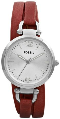 #Fossil #Watch , FOSSIL Georgia Three Hand Leather Watch Brick Red ES3157