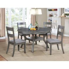Furniture of America Relia Transitional Round Dining Table (Antique White) Dining Room Sets, Round Dining Table Sets, Grey Dining Tables, Solid Wood Dining Set, Kitchen Dining Sets, 7 Piece Dining Set, Table And Chairs, Dining Room Table, Side Chairs
