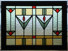 Mission style stained glass window