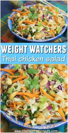 This healthy Thai salad recipe is made up of zero point foods on the Weight watchers plan. The Thai salad dressing is 3 points and each salad is served with a tablespoon of cashew nuts worth 1 point. Enjoy this tasty Thai dish and fill up on salad when Weight Watchers Salat, Weight Watchers Lunches, Weight Watchers Meal Plans, Weight Watcher Dinners, Weight Watchers Dressing, Thai Chicken Salad, Chicken Salad Recipes, Ww Recipes, Cooking Recipes