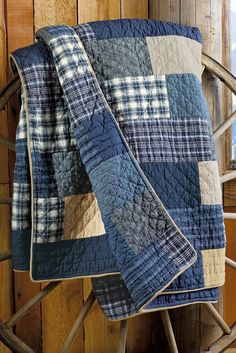 Use the boys old jeans, shirts, and pjs to make a weathered quilt like this. by Raelynn8
