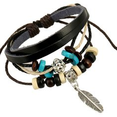 New Fashion Punk Wind Ancient Silver Beads Word Bohemian Hand-woven Cowhide Leather Leaf Alloy Bracelet For Men