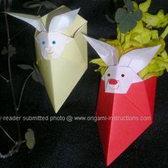 Origami Easter Bunny Folding Instructions - How to make an Origami ...
