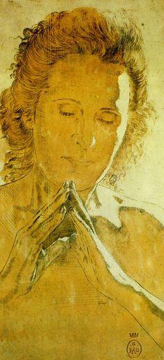 """Salvador Dali - Study for head of """"Madonna of Port Lligat""""   (ink with sanguine wash, 1950)"""