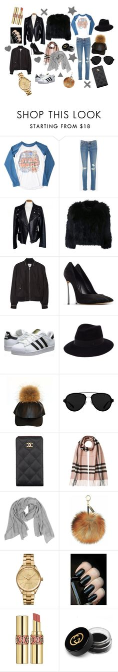 """What to Wear: Movie Date"" by gioellia ❤ liked on Polyvore featuring Junk Food Clothing, Frame, Alexander McQueen, H Brand, MANGO, Casadei, adidas Originals, Maison Michel, 3.1 Phillip Lim and Chanel"