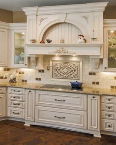wood vent hood | Hood Designs Kitchens Decoration With White Wooden Carving Vent Hood ...