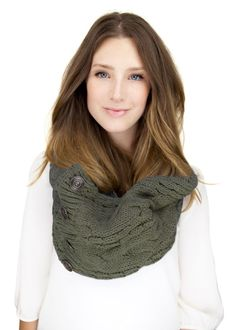 ARMY GREEN KNIT button scarf,  infinity scarf with faux button closure, army green cable knit on Etsy, $44.50