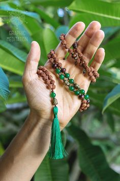 Rudraksha mala necklace with green jade stone by GraphicMeditation