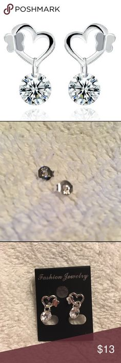 .925 heart CZ earrings. Backs are stamped but it's hard to get a good pic of that. Great little earrings. Jewelry Earrings