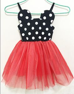 Minnie Mouse dress in red! Perfect for those Disney vacations or those birthday photos! Fits true to size.