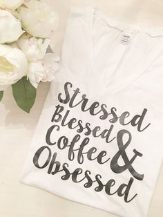 Christian Shirts, Christian T-Shirts, Christian Tees, Christian Shirt, Christian T-Shirt, Mom Shirt, Mom Life, Blessed, Coffee Obsessed,