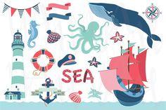Check out Nautical Sea Clip Art by YenzArtHaut on Creative Market