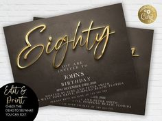 80th Birthday Invitation Editable 80th Invite Black Gold image 0 80th Birthday Invitations, Gold Invitations, Invitation Card Design, Floral Invitation, Invitation Cards, Invites, 18th Birthday Party, Gold Work, Party Planning