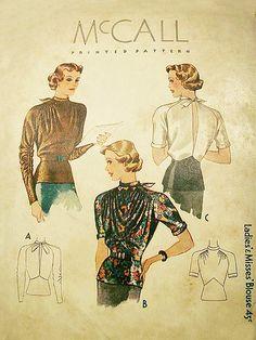 McCall 1937 Blouse Shaped Peplum Back Slit 1937 c/c sld Dress Making Patterns, Vintage Dress Patterns, Sewing Patterns For Kids, Mccalls Patterns, Retro Fashion, Vintage Fashion, 1930s Fashion, Patron Vintage, Pattern Pictures