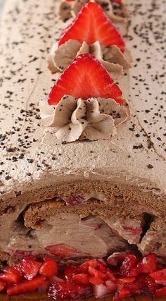Chocolate Strawberry Roll Cake
