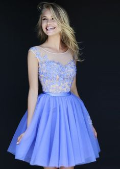 Periwinkle Nude Floral Embroidery Short Tulle Prom Dress With Beading