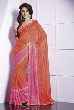 Orange and pink casual saree a part of our Badhai Collection. #Sari #Fashion #IndianWear