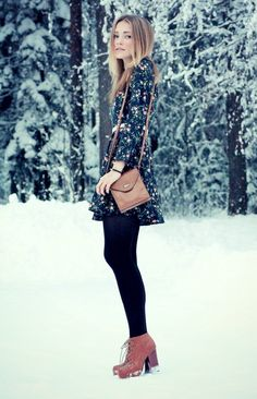 Winter style - brown leather + floral + dress + leggings