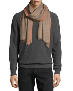 Cashmere Contrast-Border Scarf, Taupe/Orange by Neiman Marcus at Neiman Marcus Last Call.