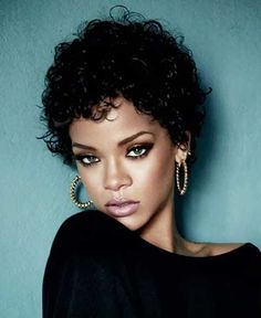 Rihanna Short Curly Pixie Hair