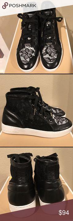 New w/box: Michael Kors black high top shoe New w/box: Black Michael Kors high top shoe w/lace finish. Size 8 MICHAEL Michael Kors Shoes Sneakers