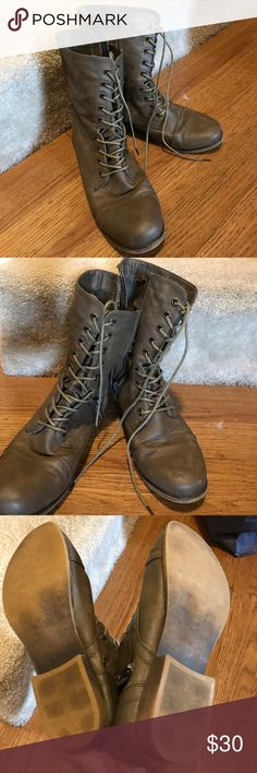 Madden girl combat boots Madden Girl light brown combat boots. Only lightly worn once. Looks new! Runs TTS. Super light brown color. Madden Girl Shoes Combat & Moto Boots