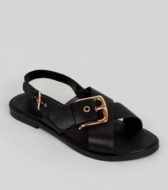 aaa5b00f468 Wide Fit Black Leather Cross Buckle Strap Sandals Gladiator Sandals