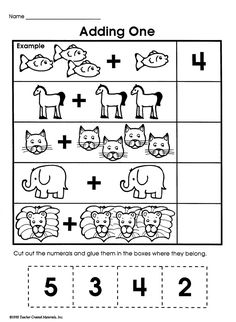 'Adding One' is a simple, printable math worksheet with lots of pictures. With all the addition problems pictorially represented, kids will find this worksheet fun to do and easy to solve!