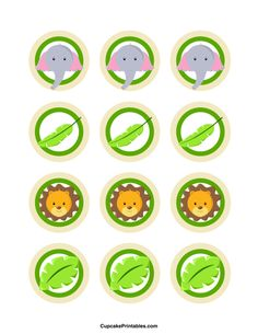 Use the circles for cupcakes, party favor tags, and… Zoo Birthday Cake, Jungle Theme Birthday, Safari Theme Party, Birthday Tags, Jungle Party, Jungle Safari, Lion Cupcakes, Jungle Cupcakes, Elephant Cupcakes