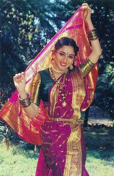 Marathi Flavour of Madhuri Marathi Wedding, Most Beautiful, Beautiful Women, Madhuri Dixit, Indian Celebrities, Bollywood Stars, Timeless Beauty, Bollywood Actress, Indian Fashion