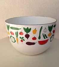 Vintage Mid Century Finel Kaj Franck Enamel Bowl Vegetable Fruit Theme