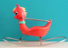 Red vintage Pony Rocking Horse Design by Canova by Vintouchables