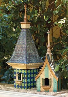 Adorable Garden Decor..... Be Sure to make All the birdhouses from wood!!!! Metal and ceramic ones collect heat from sunlight and will 'cook' the birds!!!!!!!!!