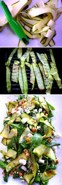 Marie's Zucchini Ribbon Salad by recipebyphoto, from prouditaliancook: Use a vegetable peeler or a veggie spiral slicer for the zucchini strips! #Salad #Zucchini