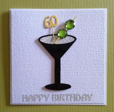 Shaken not stirred 60 handmade male 60th birthday cocktail card