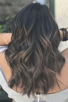 Ash Brown Balayage, Balayage Highlights, Balayage Hair, Ombre Hair, Hair Color For Black Hair, Brown Hair Colors, Light Brown Hair, Dark Hair, Black Hair Light Brown Highlights