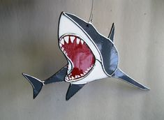 Sharkstainedo - Stained Glass Shark Suncatcher by GlassKissinCreations on Etsy