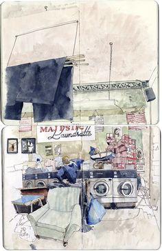 Majestic Launderette from Urban Sketchers